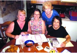 Left to right at an informal late August get-together: Linda Janwicz, Yula Troughton, Sue Talmadge and Christine Rousseau