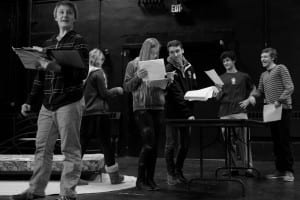 "From left to right:  Kieran Verret (U-32), Gabriella Atkinson (Sharon Academy), Kira Dellhagen, (Randolph UHS), Joshua Huffman (RUHS), Altan Cross and Orlando Whitcomb-Worden (U-32) rehearse their lines for the upcoming staged reading of ""M or F?"" at Chandler Music Hall in Randolph."