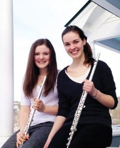 Montpelier High School freshman Ada Rohan (left) and senior Jillian Reed will comprise the flute section of the Vermont All-State Orchestra when they perform in May.