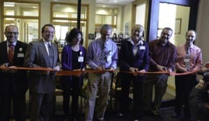 Last Thursday, Dr. Mark Yorra celebrated the opening of his new Granite City Primary Care office. Cutting the ribbon (L to R): Vice Chair UVMHN-CVMC Board of Trustees, Michael Dellipriscoli; Barre Mayor Thom Lauzon; GCPC  Nurse Practitioner Madelyn Hamilton;  GCPC's Dr. Mark Yorra; UVMHN-CVMC President and CEO Judy Tartaglia; EF Wall Representative Steve Cicio; and UVMHN-CVMC Vice President of Physician Services Dave Turner.