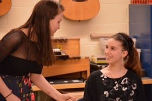 U-32 senior Zoe Olson (left) recites lines with Twinfield Union School freshman Lila Stratton during a Twinfield Drama Club rehearsal for 'The Taming of the Shrew.' Olson plays Katharina Minola, while Stratton portrays her sister, Bianca Minola.