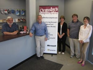 Staff members of Ormsby's Computer Systems pictured (L-R): Fred Woodworth, Brad Ormsby, Lori Beede, Eric Meade, and Sarah Ormsby. Not shown is Mark Howard