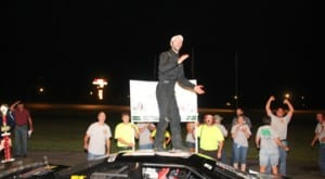 Barre's Jason Allen celebrates on the roof of his Late Model after winning the WDEV/Calkins Trophy Dash at Thunder Road on Thursday, July 30. Photo by Alan Ward