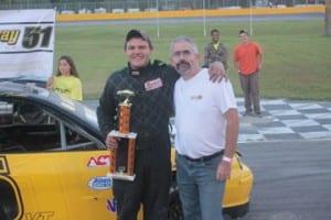 Tyler Austin (5) celebrates his Bond Auto Street Stock win at Speedway 51.