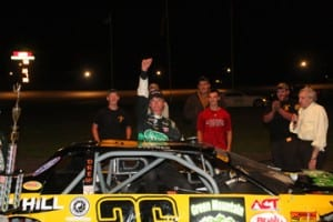Graniteville's Stephen Donahue celebrates his victory in the Tiger Sportsmen Twin 50s at U.S. Army Recruiting Night on Thursday, August 13. Photo by Alan Ward