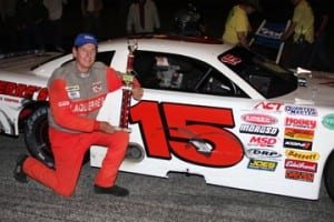 East Montpelier's Joey Laquerre, seen here after his record 45th Thunder road win in June 2014, will be enshrined in the New England Auto Racing Hall of Fame on Sunday, November 8. Photo by Alan Ward