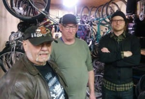 Freeride Montpelier volunteers (from L-R): Harold, Brian, and Colin are part of the reason the volunteer-run bike shop remains an important resource to Montpelier and surrounding communities.