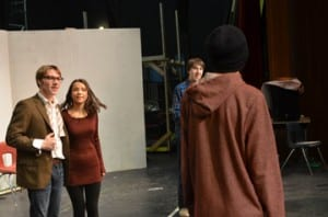 The Spaulding Drama Club rehearses for their upcoming performances of Fools. Pictured (L-R): Alex Arguin (Leon), Zoe Atkins (Sophia), Christopher Toborg (Dr. Zubritsky), Parker Nolan (Count Yousekevitch).