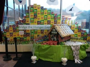 """""""Bridge the Hunger Gap"""" - the winning entry in National Life Group's """"Canstruction"""" event."""