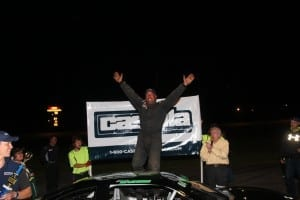 Eric Badore celebrates in Victory Lane after claiming the Triple Crown on Casella Night at Thunder Road. Photo by Alan Ward