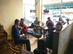 On Saturday afternoons, Bagitos hosts an Irish music session that has become a community favorite event.
