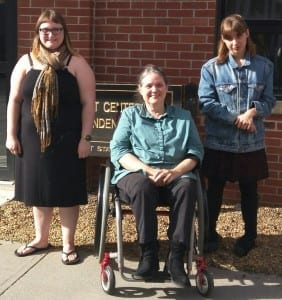 Former Vermont Center for Independent Living Executive Director Deborah Lisi-Baker is joined by Erika Dow (left) and Maleia Darling (right), this year's recipients of the Deborah Lisi-Baker Youth Leader Award.