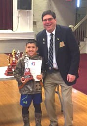 Carlo Concessi was presented his trophy by Vermont Elks President, and Barre Lodge Member, Robert Campo.